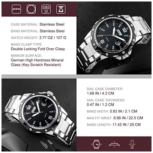 Men's Business Casual Quartz Watch Dress Analog Wrist Watch with Convex Dial Calendar Fuction Design Durable Case Waterproof Watches Water Resistant-Black