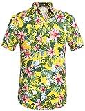 SSLR Funky Hawaiihemd Herren Freizeithemd Kurzarm Blatt Blumendruck 3D Print Reise Shirts (X-Large, Gelb)