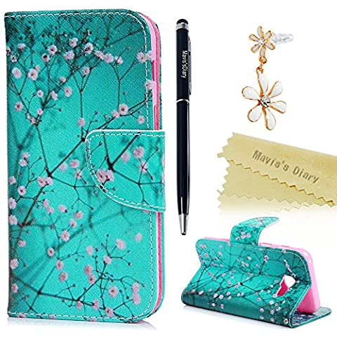 Mavis's Diary Galaxy A5 2017 Case ,Samsung Galaxy A5 Case (2017 Model) - Wallet Flip Bumper Cover PU Leather Case Shockproof with Soft Silicone Back Holder Magnetic Closure Stand Stylish Prints Protective Cover - with Dust Plug & Stylus - Spring Pink Flowers