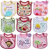 JT-Amigo Baberos del Bebé Impermeables - Paquete de 9 Diseños para Niña
