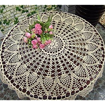 White Tablecloth Round Lace Crochet Effect 59 150cm Amazon