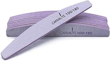 Lot de 10limes à ongles professionnelles - Double-face - Grain 100 / 180 - Pour la manucure, pour le toilettage des...