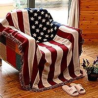 AFAHXX Jacquard Borla Funda de sofá,Bandera Americana Tiro Mantas para sofá Cama Cubierta de