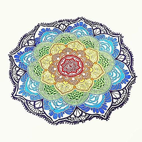 Rond Serviette de Plage Couvre-Lit Décor Tassel avec Petites Boules Fleurs Motif 142,2 cm Circulaire Tapis de Yoga Sheet Pique-Nique Hippie Housse de Table Tapisserie Décoration Murale à Suspendre