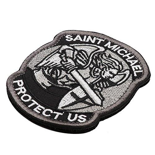 St. Michael US Aufkleber Michael Patch Abzeichen Erzengel (grau und schwarz) -