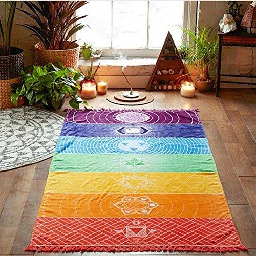 Danigrefinb - tappetino decorativo per interni, motivo a righe arcobaleno, bohémien, da appendere alla parete, arazzo, telo da spiaggia, tappetino da yoga, poliestere, multicolore, taglia unica