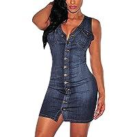 Minetom Donna Estate Classico V-Collo Pulsante Dress Senza Manica Slim-Fitted Camicia Jeans Partito Mini Vestito Denim…