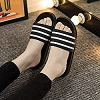fankou The Bathrooms Have a Bath in The Summer Non-Slip Men and Women Home Interior Home Thick Couples Home Slippers Soft Bottom Cool Slippers Female,41-42, Black