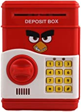 MousePotato Electronic Piggy Bank Password Lock Money Safe for Coins & Notes (Red Bird)