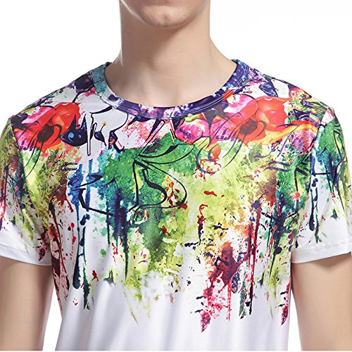 Whatlees Herren Hip Hop Slim Fit T-Shirt mit Bunt 3D Farbspritzer Druck Muster B052-77