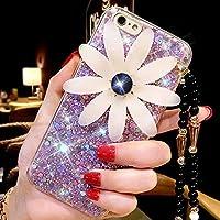 iPhone 6S funda, iPhone 6Funda, iPhone 66S caso, ikasus Diamond Daisy Bead cadena cordón Sparkle Bling Glitter Paillette Flexible suave de goma protectora TPU Carcasa de silicona para iPhone 6/6S 4.7