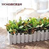 Pure-Stil gefälschte grüne Pflanze gefälschte Blumendekoration Innen- und Außendekoration Zaun grüne Topfpflanzen künstliche Blumen und Pflanzen, 40CM weiße Bar kleine Blattgold JHYFLOWER