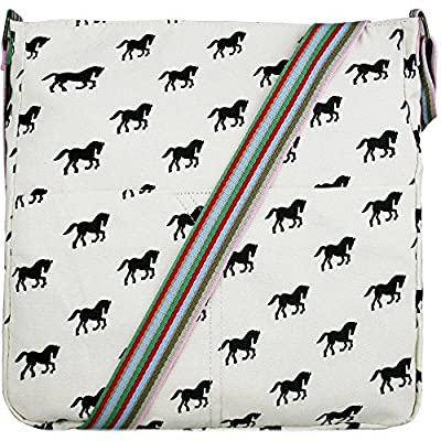 Cream & Black Horse Print Canvas Ladies Messenger Fashion Bag Handbag