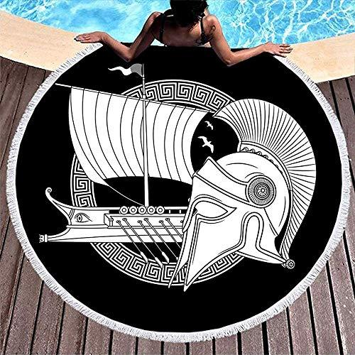 Leo-Shop Black Norse Viking Hellenic Helm griechischen Segelschiff Knoten Tattoo PrintRound Beach TowelEthnic RoundBeach Throw