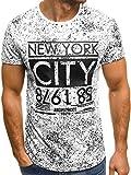 OZONEE Mix Herren T-Shirt Aufdruck Kurzarm Motiv Rundhals Figurbetont Shirt Slim-Fit JS/SS359 Weiß L