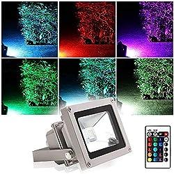 Projecteur LED Extérieur RGB/RVB 10W Etanche IP65 Blinngo Prise EU 16 Couleurs Changeant avec Télécommande pour Noël, Jardin,Scène de Paysage,de l'Eclairage Spot,Hôtels (LED0005)