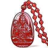 yigedan Buddha Anhänger Halskette Bodhisattva-Amulett Talisman aus Achat Edelstein rot grün