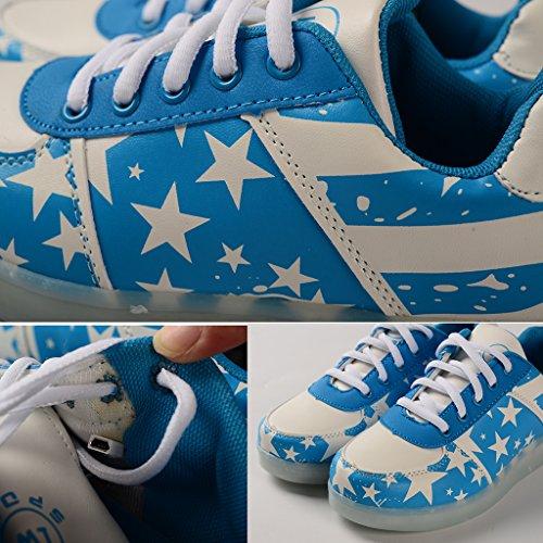DoGeek - Chaussure Basket Lumineuse - Homme Femme - 7 Led Colorful Lumière -Usb Rechargeable Bleu