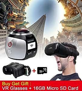 Campark 16MP 3K (2448 * 2448 / 30fps) Camera 360 gradi panoramica VR Azione, sferico Lens, 3D, impermeabile, Wi-Fi, supporto gratuito VR auricolare Video Replay da Campark