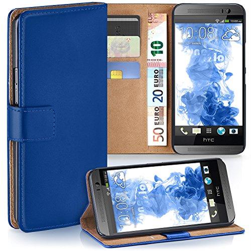 moex HTC One M8 | Hülle Blau mit Karten-Fach 360° Book Klapp-Hülle Handytasche Kunst-Leder Handyhülle für HTC One M8/M8s Case Flip Cover Schutzhülle Tasche
