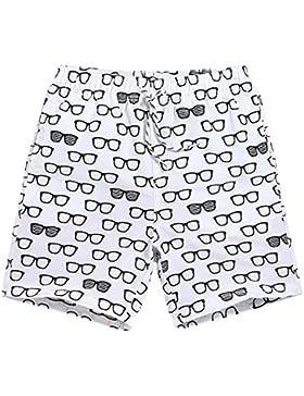 Zgsjbmh Pantalones Ligeros de Playa Suelta para Hombres Pantalones de Verano Transpirables y Frescos Gafas Blancas...