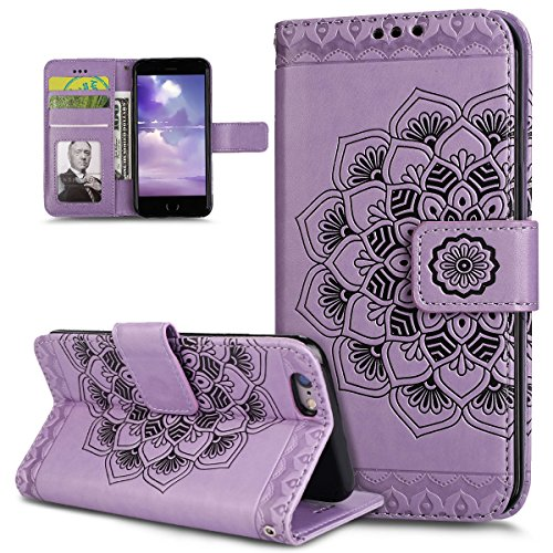 Custodia iPhone 6S Plus, Custodia iPhone 6 Plus, iPhone 6S Plus/6 Plus Cover, ikasus® iPhone 6S Plus/iPhone 6 Plus Custodia Cover [PU Leather] [Shock-Absorption] Goffratura Mandala fiore Modello Embos Viola