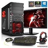 Gaming Komplett PC Set, Ryzen 5-1400 4x3.2 GHz, 24 Zoll TFT, Maus Tastatur Headset, 8GB DDR4, 1TB HDD, GTX1050 Ti 4GB, Windows 10 Spiele Computer zusammengestellt in Deutschland Desktop Rechner