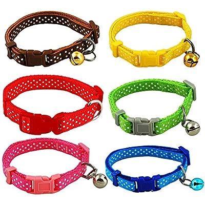 Per Adjustable Polka Dot Print Pet Dog Cat Collar Necklace 6 Color to Choose