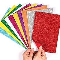 Baker Ross Ltd EF434 Self-Adhesive Glitter Foam Sheets, Assorted
