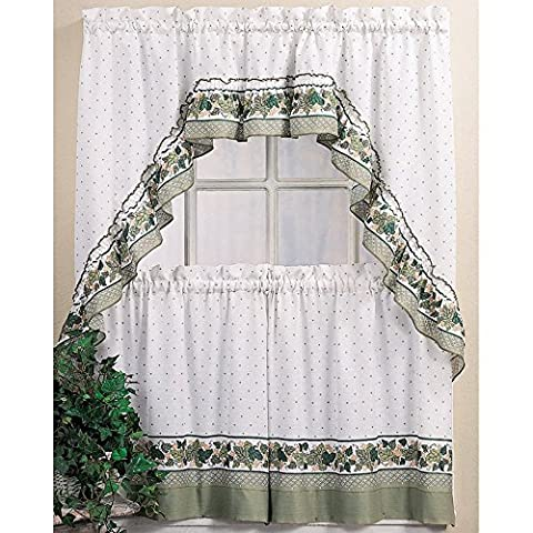 CHF & You Cottage Ivy Country Curtain Tier And Swag Set, Multi, 56-Inch X 36-Inch by CHF & You