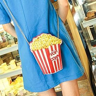 Gudelaa Damen Umhängetasche Pu-Leder Popcorn Hamburge Eiscreme Frites Umhängetasche Kette Umhängetasche Popcorn