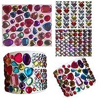 961 pcs juego de purpurina brillantes autoadhesivas redondo + cuadrado multicolour redondo + tamaño mediano en distintas formas para Manualidades Gltzersteine cuadrada piedras preciosas piedras de estrás para arreglar de crystal King