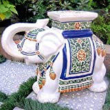 White : International Caravan VHO16A-C-LG-125-IC Furniture Piece Large Porcelain Elephant Stool