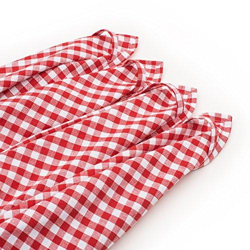FILU Geschirrhandtücher 4 Stück (100% Baumwolle) Rot/Weiß kariert 45 x 70 cm (Farbe und Design wählbar); hochwertig gefertigte Küchenhandtücher/Geschirrtücher im skandinavischen Landhaus-Stil (Rot Geschirrtuch)