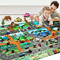 Mioloe Kids Carpet Playmat Rug City Life Great for Playing with Cars and Toys Children Educational Road Traffic Play Mat, for Bedroom Play Room Game Safe Area(No Car)