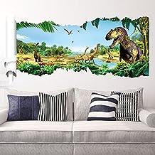 Ufengke® Parco Giurassico Giungla Originale Feroce Dinosauri Adesivi Murali, Camera Dei Bambini Vivai Adesivi da Parete Removibili/Stickers Murali/Decorazione Murale