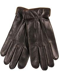ELMA Nappaleder-Handschuhe für Herren, abgefüttert mit Thinsulate-Fleece, mit Steppung, elastischem Bund, vergoldetem Logo