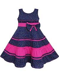 Mädchen Kleid Bogen Binden Polka Punkt Drucken Gestreift Muster Rosa
