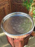 Large Silver coloured engraved tea tray