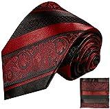 Cravate homme bordeaux rouge rayé noir ensemble de cravate 2 Pièces ( 100% Soie Cravate + Mouchoir )
