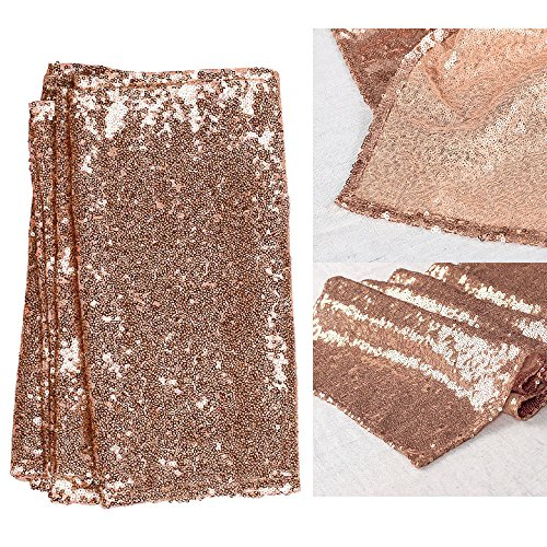 DouTree Glitter Sequin Table Runner Sparkly Wedding Party Deco 30X275cm (Champaign Gold)