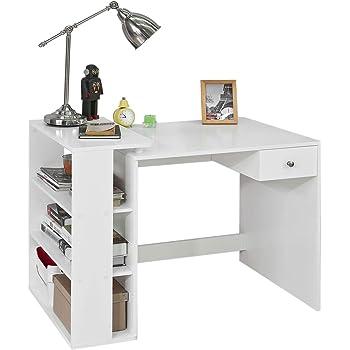SoBuy FWT16 W Schreibtisch Mit 2 Ablagen Tisch Computertisch  Kinderschreibtisch Bürotisch Weiß BHT Ca.: 101x76x50cm