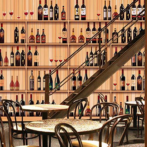 Foto Tapete 3D Europäischen Weinregal Holzmaserung Simulation Wohnzimmer Hotel Weinkellerei Bar Ktv Hintergrund Wandmalerei @ 350 * 245 Cm