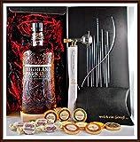 Geschenk Highland Park 12 Jahre Whisky + Flaschenportionierer + 10 Edel Schokoladen von DreiMeister/DaJa + 4 Whisky Fudge, kostenloser Versand