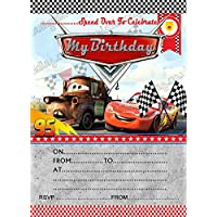 Birthday Party Invitations Disney Cars Lightning Mcqueen 8 Cards Free Envelopes
