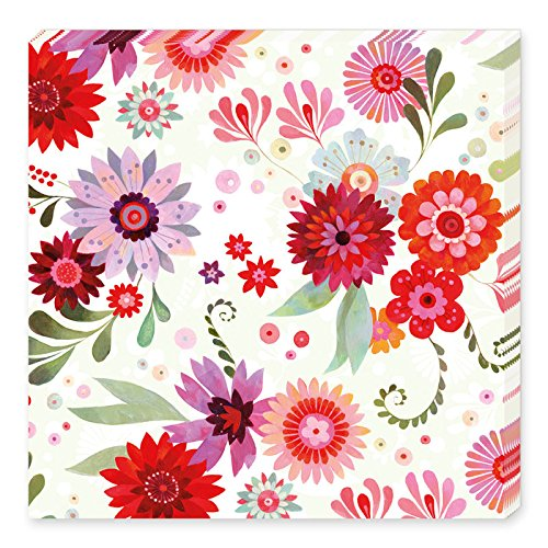 Grätz Verlag 20 Stück Servietten mit Blumen und Punkten, Blume, Bunt, Weiß, Türkis, Grün, Lila, Retro, Vintage, Quadratisch