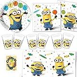 Minions Balloons Party Partyset 53tlg. Teller Becher Servietten Tischdecke für 16 Kinder