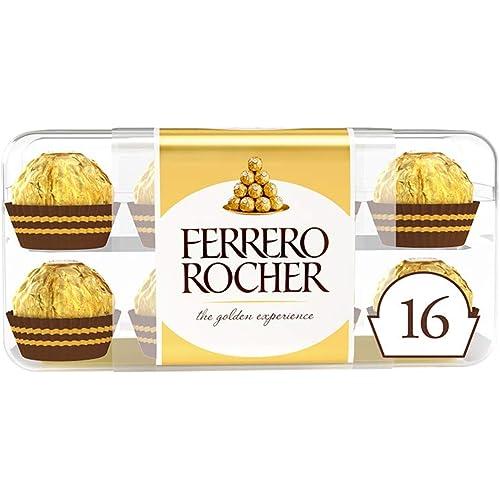 Ferrero Rocher - Croccanti Specialità al Cioccolato al Latte con Nocciole e Ripieno Cremoso con Nocciola Intera, Confezione da 16 Praline - 200 gr