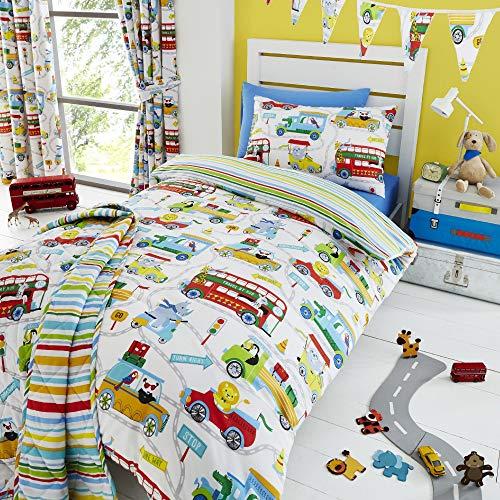 Happy Linen Company Kinder Tagesdecke - mit Zootieren in der Stadt - wendbar - Weiß