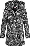 Sublevel Damen Woll-Mantel Jacke LSL-298 Kapuze meliert Black-White L